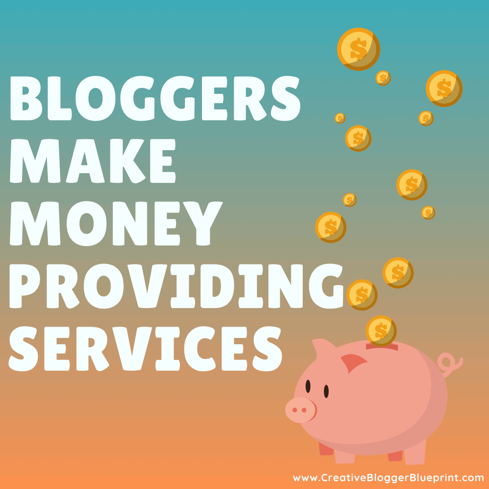 Graphic Bloggers make money with providing services piggybank with coins