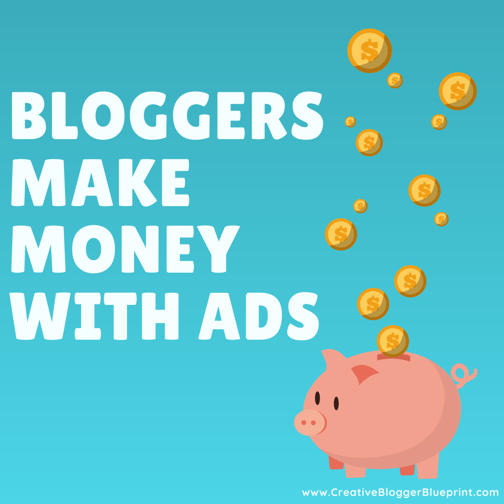 Graphic Bloggers make money with ads piggybank with coins