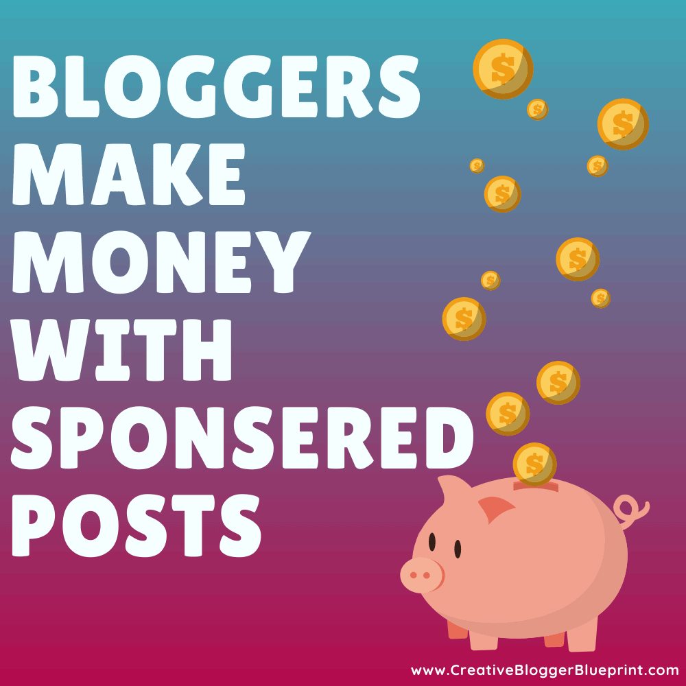 Graphic Bloggers make money with sponsored posts piggybank with coins