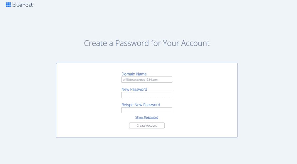 Screenshot of Bluehost Sign Up Process