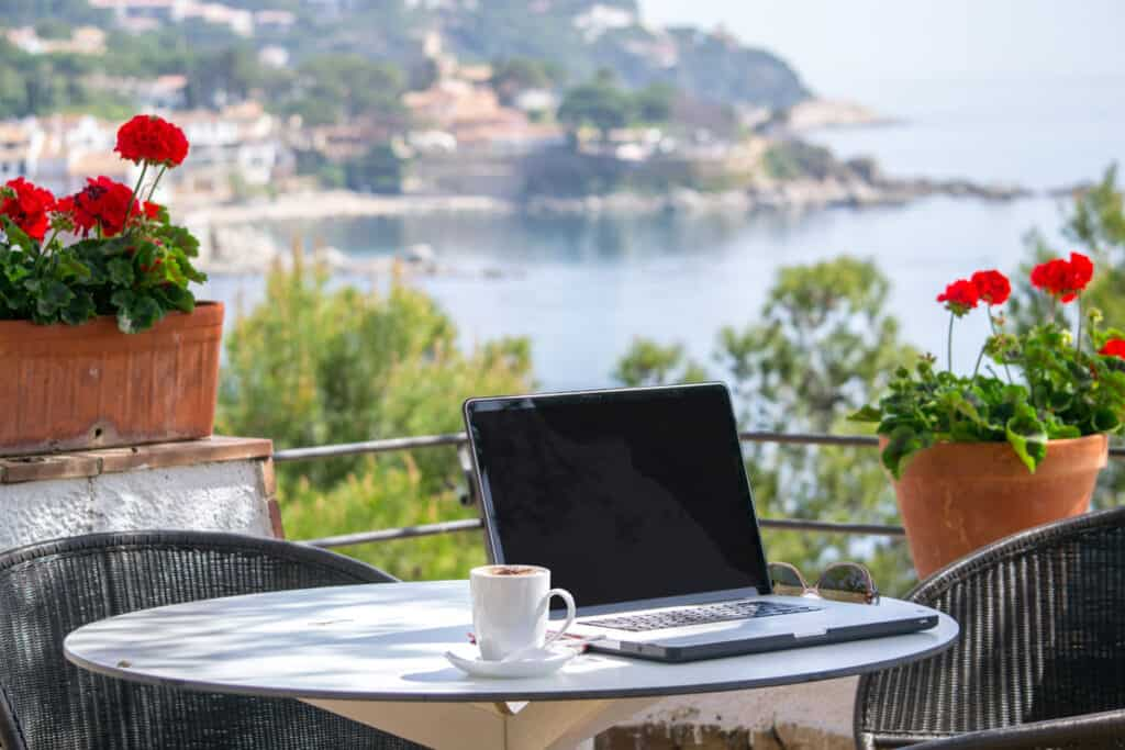 Should I start a blog? How about working on a laptop on patio overlooking lake and hillside
