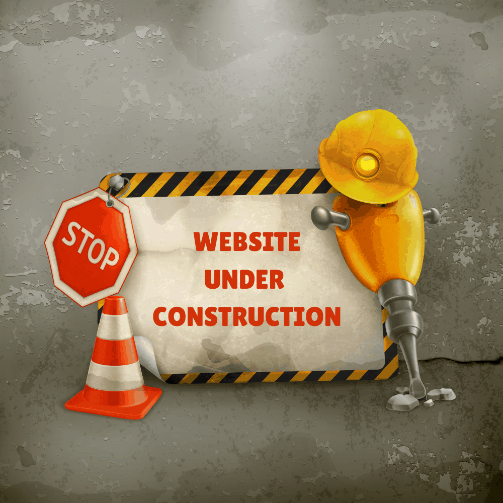 Drawing of construction sigh with words Website under construction sign